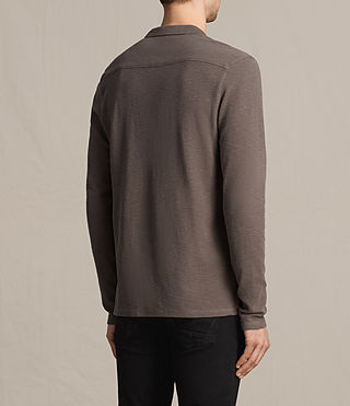 Mens Clash Long Sleeve Polo Shirt (KHAKI TAUPE) - product_image_alt_text_4