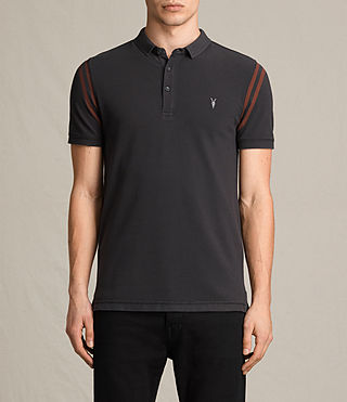 Mens Reform Varsity Polo Shirt (Washed Black) - product_image_alt_text_1