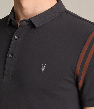 Mens Reform Varsity Polo Shirt (Washed Black) - product_image_alt_text_2