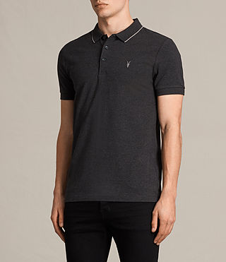 Mens Houston Polo Shirt (CHARCOAL MRL/PUTTY) - product_image_alt_text_3