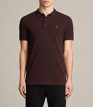 Mens Houston Polo Shirt (OXBLOOD RED/BLACK) - product_image_alt_text_1