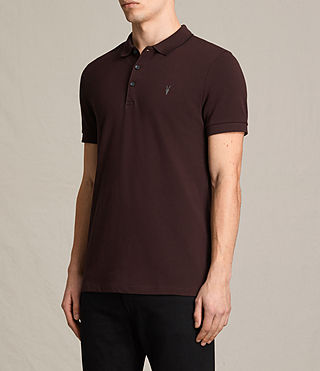 Mens Houston Polo Shirt (OXBLOOD RED/BLACK) - product_image_alt_text_3
