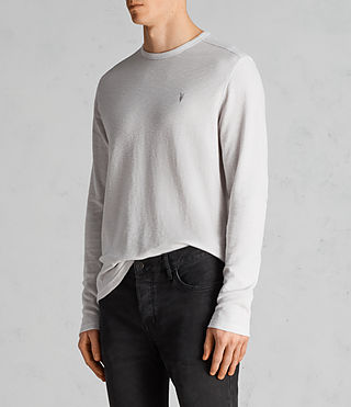 Mens Clash Long Sleeve Crew T-Shirt (Light Grey) - Image 3