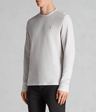 Mens Clash Long Sleeve Crew T-Shirt (Light Grey) - Image 4