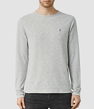 Hombres Clash Long Sleeved Crew T-Shirt (Grey Marl)