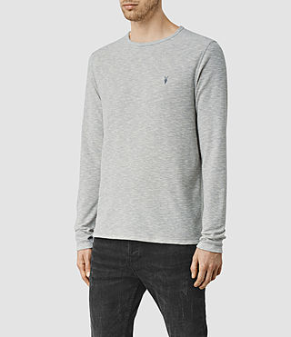 Hommes Clash Long Sleeved Crew T-Shirt (Grey Marl) - product_image_alt_text_2