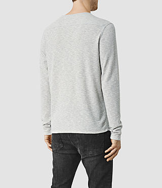Hommes Clash Long Sleeved Crew T-Shirt (Grey Marl) - product_image_alt_text_3