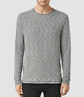 Hombres Clash Long Sleeve Crew T-Shirt (Charcoal/Grey Marl) -