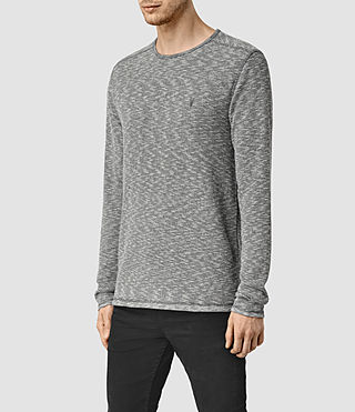 Hombres Clash Long Sleeve Crew T-Shirt (Charcoal/Grey Marl) - product_image_alt_text_2