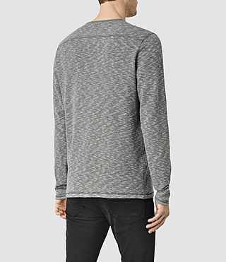 Hombres Clash Long Sleeve Crew T-Shirt (Charcoal/Grey Marl) - product_image_alt_text_3