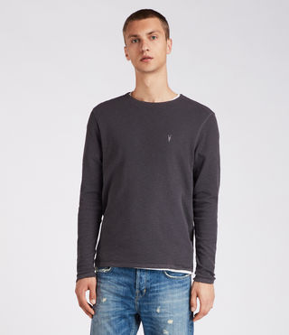 Men's Clash Long Sleeve Crew T-Shirt (Washed Black) - Image 1