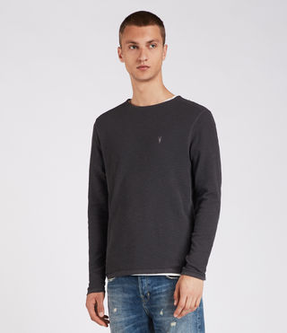 Hombres Clash Long Sleeved Crew T-Shirt (Washed Black) - product_image_alt_text_3