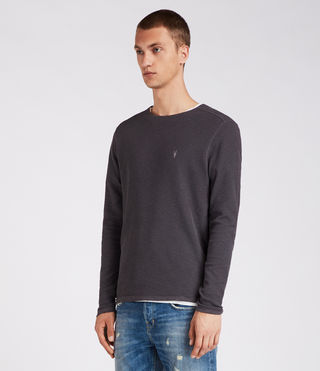 Men's Clash Long Sleeve Crew T-Shirt (Washed Black) - product_image_alt_text_4