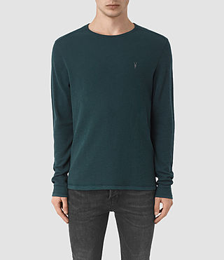 Hombres Clash Long Sleeve Crew T-Shirt (Petrol Blue)