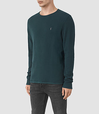Herren Clash Long Sleeve Crew T-Shirt (Petrol Blue) - product_image_alt_text_2
