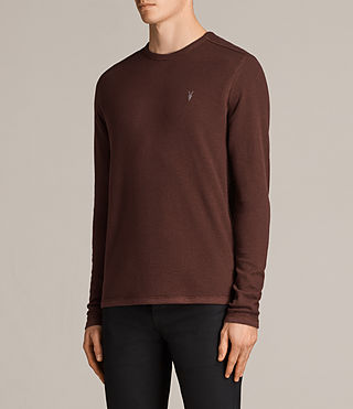 Hombres Clash Long Sleeved Crew T-Shirt (BURNT RED) - Image 3