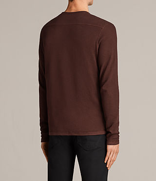 Hombres Clash Long Sleeved Crew T-Shirt (BURNT RED) - Image 4