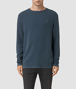 Hombres Clash Long Sleeve Crew T-Shirt (Workers Blue)