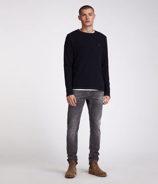 Men's Clash Long Sleeved Crew T-Shirt (INK NAVY) - Image 3