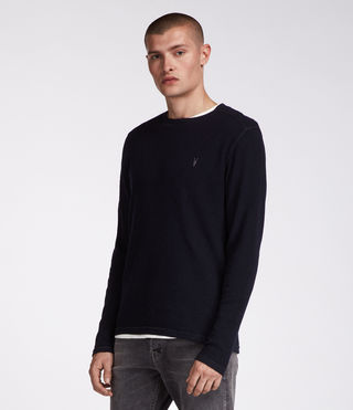 Men's Clash Long Sleeved Crew T-Shirt (INK NAVY) - product_image_alt_text_4