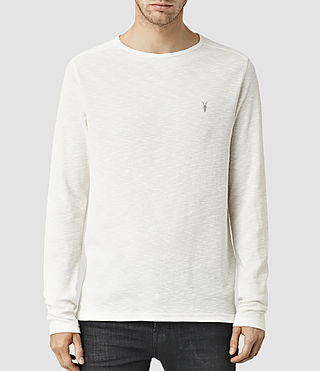 Hombres Clash Long Sleeve Crew T-Shirt (Chalk White) -