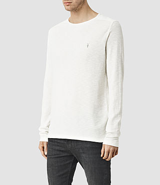 Hombres Clash Long Sleeve Crew T-Shirt (Chalk White) - product_image_alt_text_2