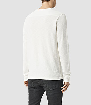 Hombres Clash Long Sleeve Crew T-Shirt (Chalk White) - product_image_alt_text_3