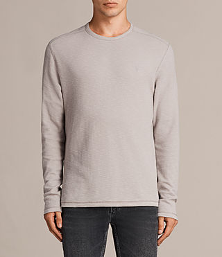 Mens Clash Long Sleeve Crew T-Shirt (Pebble Grey) - product_image_alt_text_1