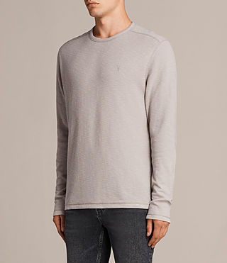 Mens Clash Long Sleeve Crew T-Shirt (Pebble Grey) - product_image_alt_text_3