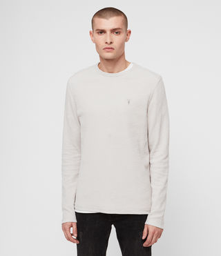 Hombres Clash Long Sleeve Crew T-Shirt (LUNAR GREY)