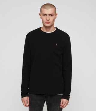 Men's Clash Long Sleeve Crew T-Shirt (Jet Black) - product_image_alt_text_1