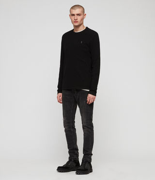 Men's Clash Long Sleeve Crew T-Shirt (Jet Black) - product_image_alt_text_3