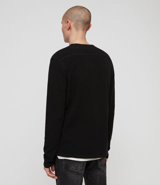 Hombres Clash Long Sleeve Crew T-Shirt (Jet Black) - product_image_alt_text_4