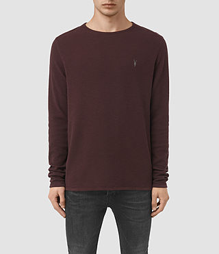 Men's Clash Long Sleeve Crew T-Shirt (Damson Red) -