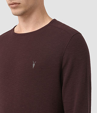 Men's Clash Long Sleeve Crew T-Shirt (Damson Red) - product_image_alt_text_2