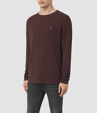 Men's Clash Long Sleeve Crew T-Shirt (Damson Red) - product_image_alt_text_3