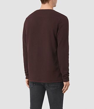 Men's Clash Long Sleeve Crew T-Shirt (Damson Red) - product_image_alt_text_4