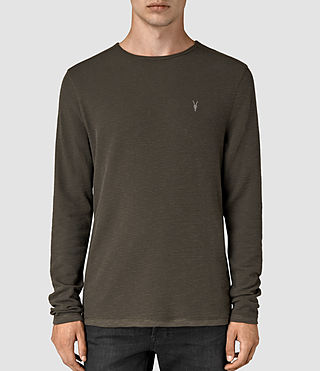 Herren Clash Long Sleeve Crew T-Shirt (Pewter Brown) -