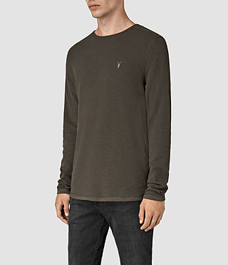 Herren Clash Long Sleeve Crew T-Shirt (Pewter Brown) - product_image_alt_text_2