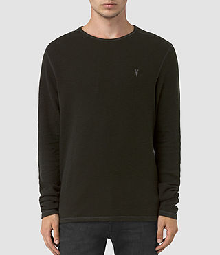 Hommes Clash Long Sleeve Crew T-Shirt (LICHEN GREEN) -