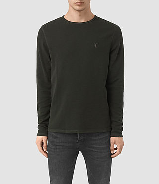 Hombres Clash Long Sleeved Crew T-Shirt (Shadow Green)