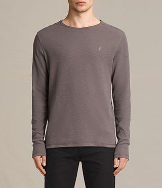 Hommes Clash Long Sleeve Crew T-Shirt (KHAKI TAUPE) -