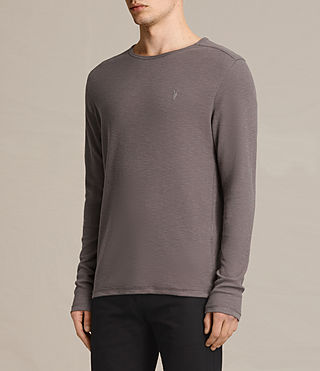 Mens Clash Long Sleeve Crew T-Shirt (KHAKI TAUPE) - product_image_alt_text_3
