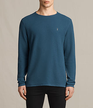 Hombres Clash Long Sleeve Crew T-Shirt (MONTANA BLUE)