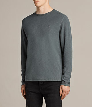 Men's Clash Long Sleeved Crew T-Shirt (FLINT GREEN) - product_image_alt_text_3
