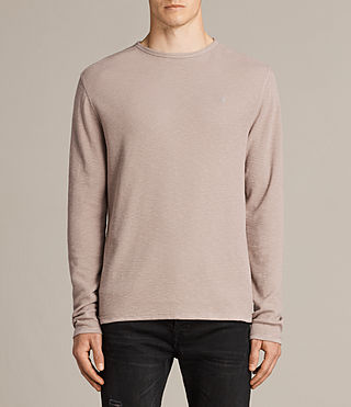 Mens Clash Long Sleeve Crew T-Shirt (MUSHROOM PINK) - product_image_alt_text_1