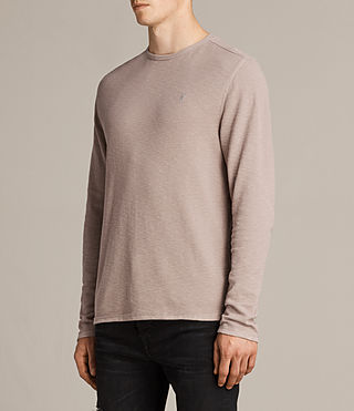 Mens Clash Long Sleeve Crew T-Shirt (MUSHROOM PINK) - product_image_alt_text_3