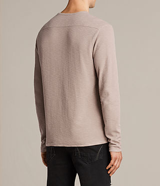 Mens Clash Long Sleeve Crew T-Shirt (MUSHROOM PINK) - product_image_alt_text_4