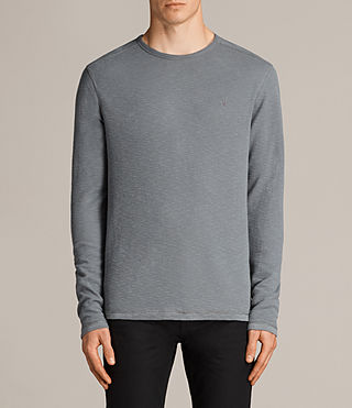 Men's Clash Long Sleeved Crew T-Shirt (SMOKE BLUE) - Image 1
