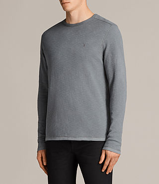 Men's Clash Long Sleeved Crew T-Shirt (SMOKE BLUE) - Image 3